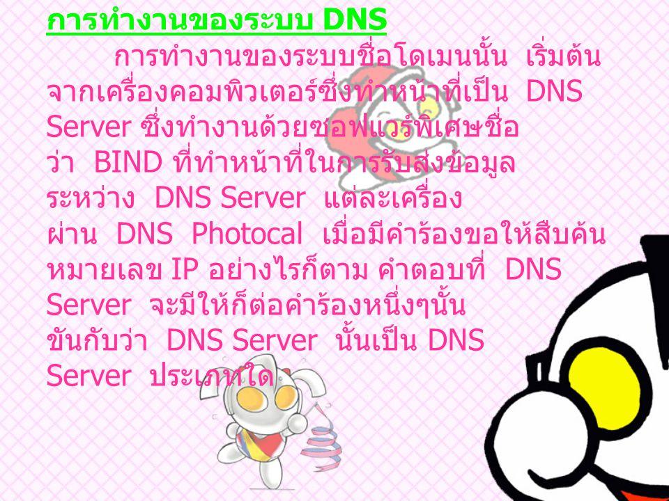 การทำงานของระบบ DNS การทำงานของระบบชื่อโดเมนนั้น เริ่มต้น จากเครื่องคอมพิวเตอร์ซึ่งทำหน้าที่เป็น DNS Server ซึ่งทำงานด้วยซอฟแวร์พิเศษชื่อ ว่า BIND ที่ทำหน้าที่ในการรับส่งข้อมูล ระหว่าง DNS Server แต่ละเครื่อง ผ่าน DNS Photocal เมื่อมีคำร้องขอให้สืบค้น หมายเลข IP อย่างไรก็ตาม คำตอบที่ DNS Server จะมีให้ก็ต่อคำร้องหนึ่งๆนั้น ขันกับว่า DNS Server นั้นเป็น DNS Server ประเภทใด