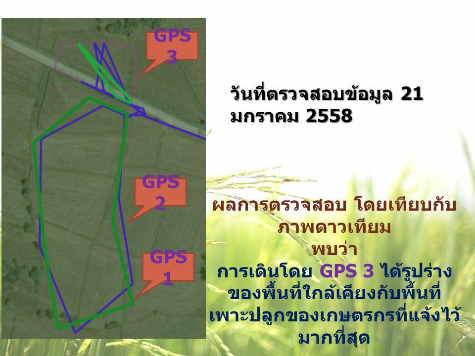 ผลการตรวจสอบ โดยเทียบกับ ภาพดาวเทียม พบว่า การเดินโดย GPS 3 ได้รูปร่าง ของพื้นที่ใกล้เคียงกับพื้นที่ เพาะปลูกของเกษตรกรที่แจ้งไว้ มากที่สุด วันที่ตรวจ