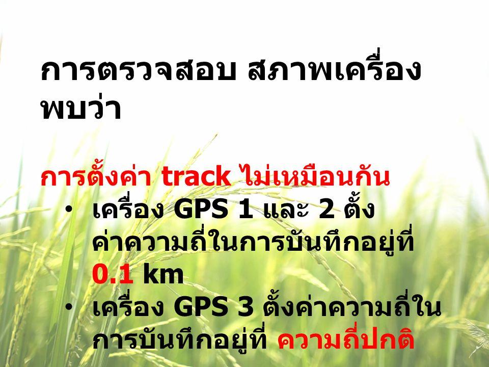 การตรวจสอบ สภาพเครื่อง พบว่า การตั้งค่า track ไม่เหมือนกัน เครื่อง GPS 1 และ 2 ตั้ง ค่าความถี่ในการบันทึกอยู่ที่ 0.1 km เครื่อง GPS 3 ตั้งค่าความถี่ใน