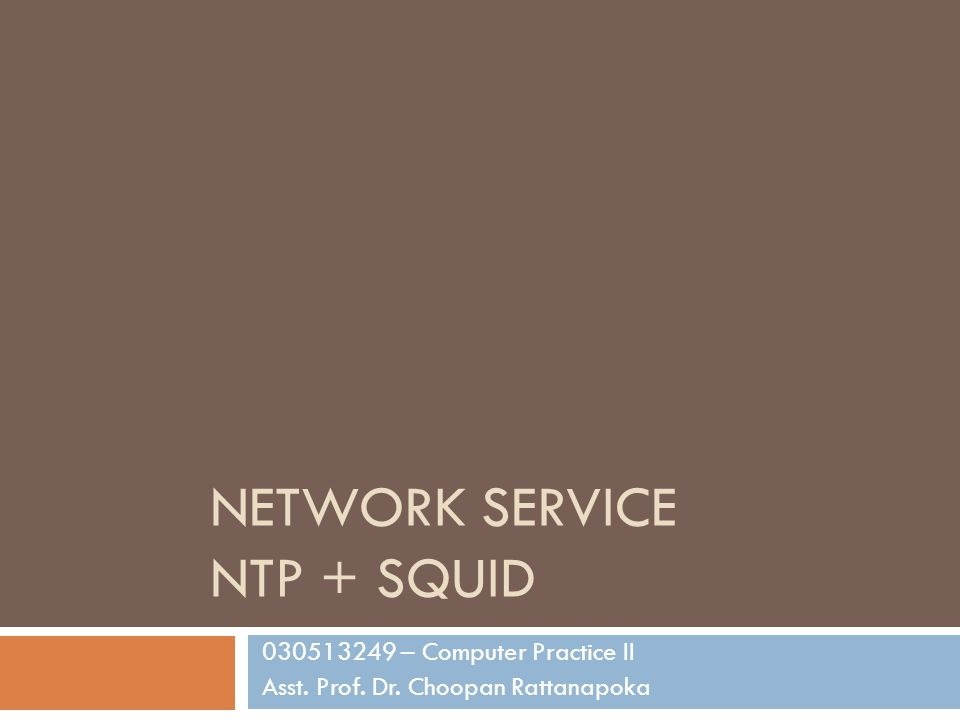 NETWORK SERVICE NTP + SQUID 030513249 – Computer Practice II Asst. Prof. Dr. Choopan Rattanapoka