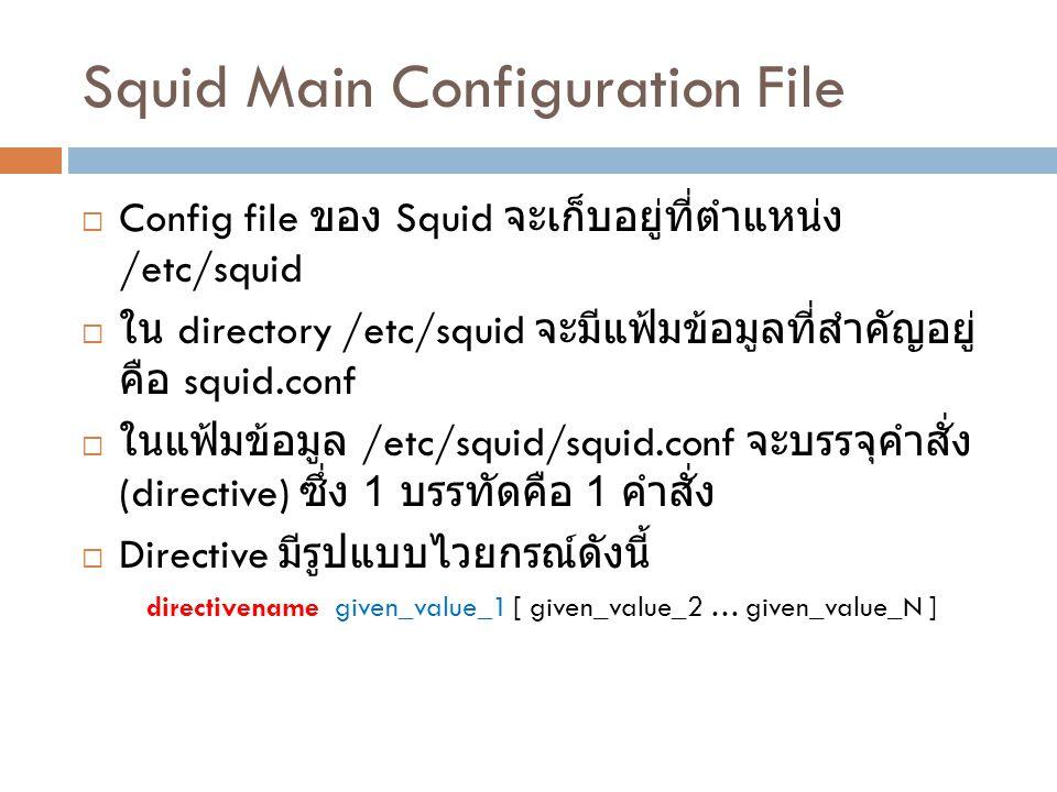 Squid Main Configuration File  Config file ของ Squid จะเก็บอยู่ที่ตำแหน่ง /etc/squid  ใน directory /etc/squid จะมีแฟ้มข้อมูลที่สำคัญอยู่ คือ squid.c