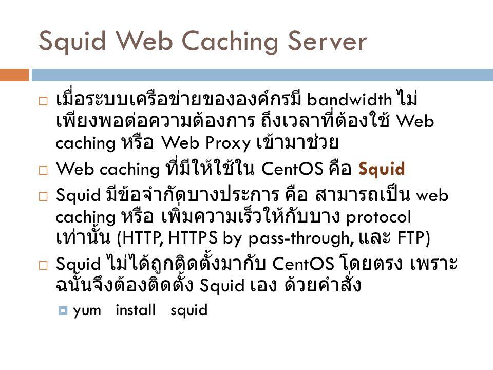 Squid Main Configuration File  Config file ของ Squid จะเก็บอยู่ที่ตำแหน่ง /etc/squid  ใน directory /etc/squid จะมีแฟ้มข้อมูลที่สำคัญอยู่ คือ squid.conf  ในแฟ้มข้อมูล /etc/squid/squid.conf จะบรรจุคำสั่ง (directive) ซึ่ง 1 บรรทัดคือ 1 คำสั่ง  Directive มีรูปแบบไวยกรณ์ดังนี้ directivename given_value_1 [ given_value_2 … given_value_N ]