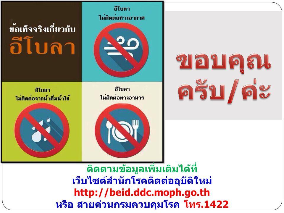 ติดตามข้อมูลเพิ่มเติมได้ที่ เว็บไซต์สำนักโรคติดต่ออุบัติใหม่ http://beid.ddc.moph.go.th หรือ สายด่วนกรมควบคุมโรค โทร.1422