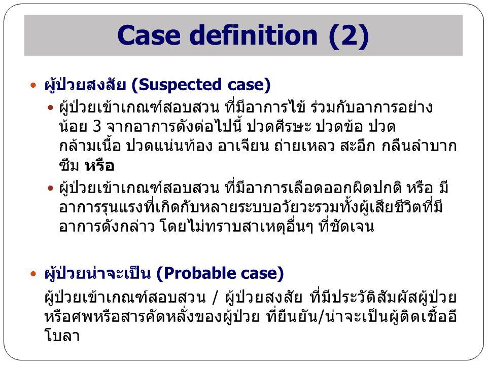 Case definition (2) ผู้ป่วยสงสัย (Suspected case) ผู้ป่วยเข้าเกณฑ์สอบสวน ที่มีอาการไข้ ร่วมกับอาการอย่าง น้อย 3 จากอาการดังต่อไปนี้ ปวดศีรษะ ปวดข้อ ปว