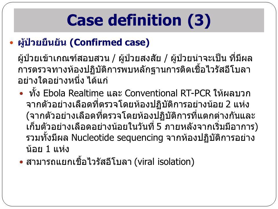 Case definition (3) ผู้ป่วยยืนยัน (Confirmed case) ผู้ป่วยเข้าเกณฑ์สอบสวน / ผู้ป่วยสงสัย / ผู้ป่วยน่าจะเป็น ที่มีผล การตรวจทางห้องปฏิบัติการพบหลักฐานก