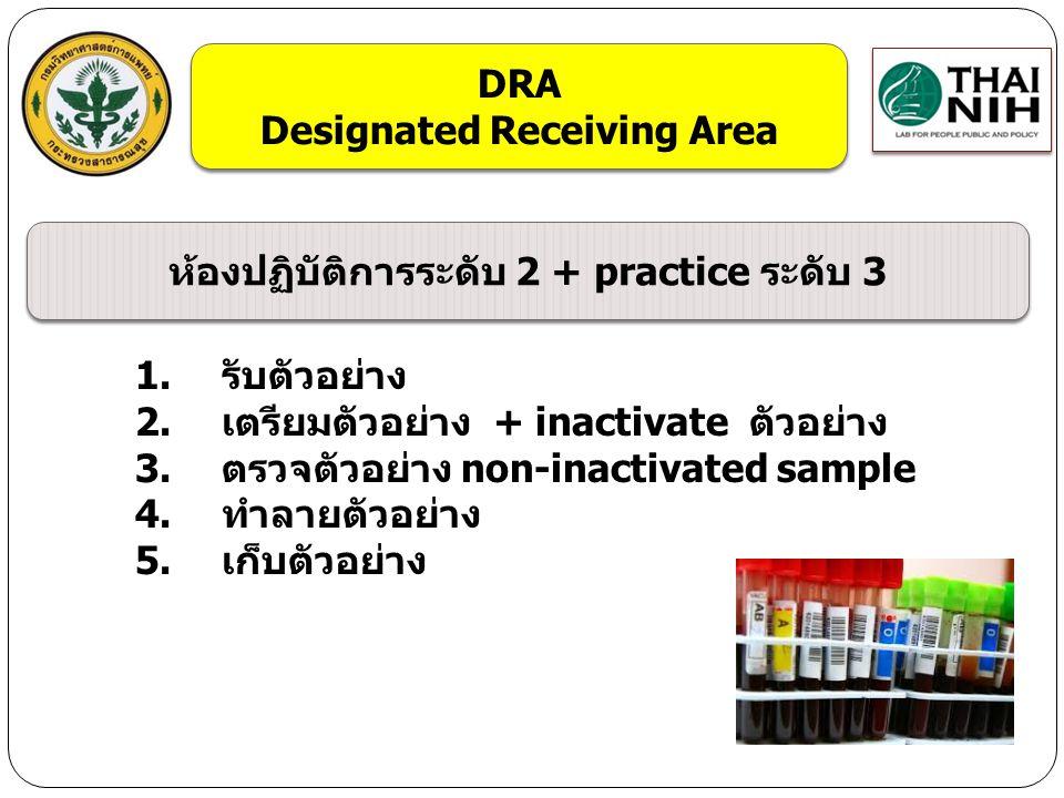 1.รับตัวอย่าง 2.เตรียมตัวอย่าง + inactivate ตัวอย่าง 3.ตรวจตัวอย่าง non-inactivated sample 4.ทำลายตัวอย่าง 5.เก็บตัวอย่าง DRA Designated Receiving Are
