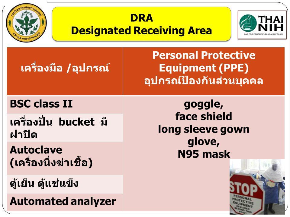 เครื่องมือ /อุปกรณ์ Personal Protective Equipment (PPE) อุปกรณ์ป้องกันส่วนบุคคล BSC class IIgoggle, face shield long sleeve gown glove, N95 mask เครื่