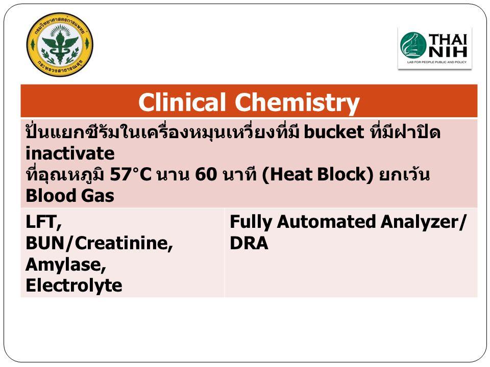 Blood chemistry Clinical Chemistry ปั่นแยกซีรัมในเครื่องหมุนเหวี่ยงที่มี bucket ที่มีฝาปิด inactivate ที่อุณหภูมิ 57°C นาน 60 นาที (Heat Block) ยกเว้น