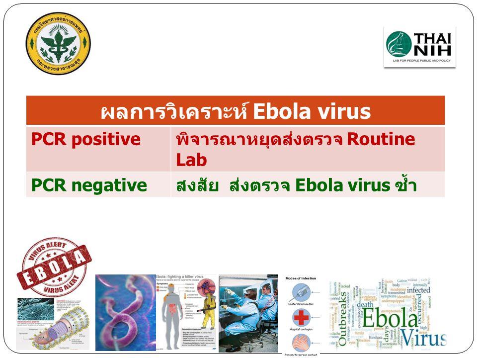 ผลการวิเคราะห์ Ebola virus PCR positiveพิจารณาหยุดส่งตรวจ Routine Lab PCR negativeสงสัย ส่งตรวจ Ebola virus ซ้ำ