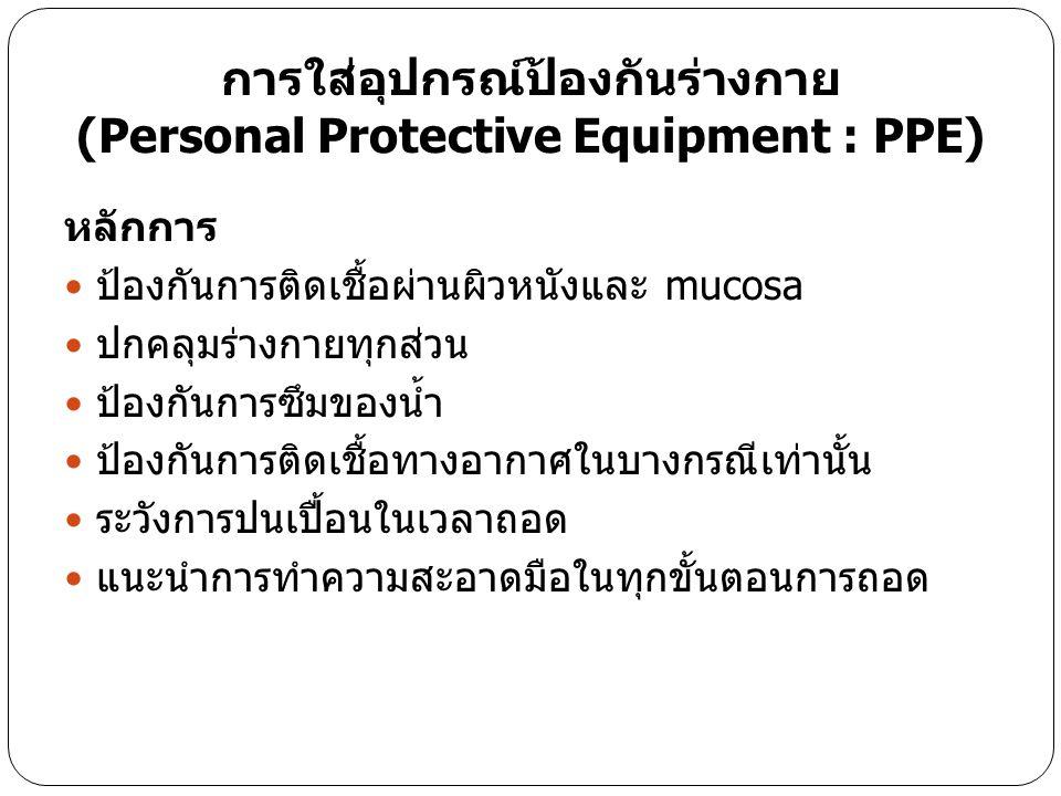 การใส่อุปกรณ์ป้องกันร่างกาย (Personal Protective Equipment : PPE) หลักการ ป้องกันการติดเชื้อผ่านผิวหนังและ mucosa ปกคลุมร่างกายทุกส่วน ป้องกันการซึมขอ