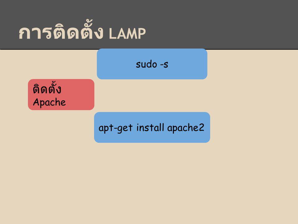 การติดตั้ง LAMP sudo -s ติดตั้ง Apache apt-get install apache2