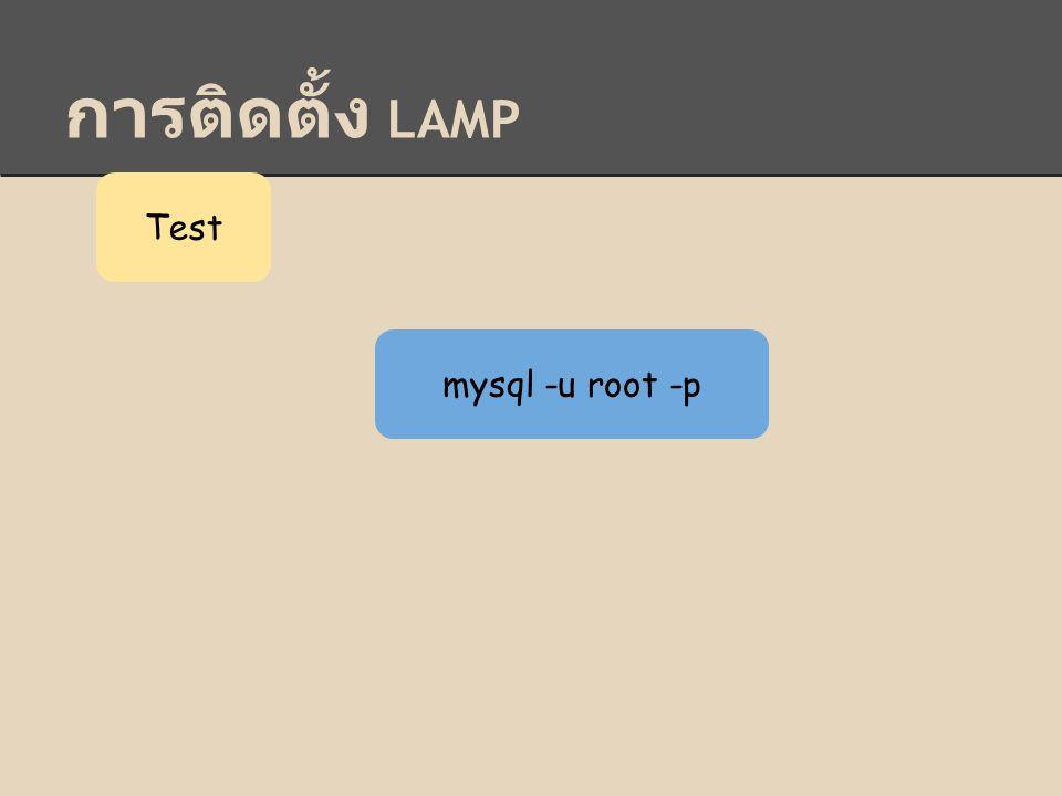 Test mysql -u root -p
