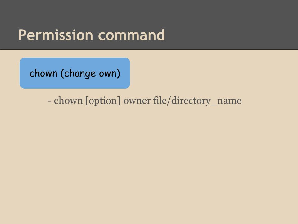 Permission command - chown [option] owner file/directory_name chown (change own)