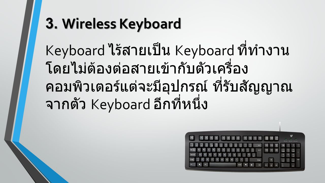 3. Wireless Keyboard Keyboard ไร้สายเป็น Keyboard ที่ทำงาน โดยไม่ต้องต่อสายเข้ากับตัวเครื่อง คอมพิวเตอร์แต่จะมีอุปกรณ์ ที่รับสัญญาณ จากตัว Keyboard อี