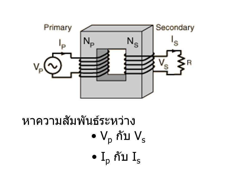 หาความสัมพันธ์ระหว่าง V p กับ V s I p กับ I s