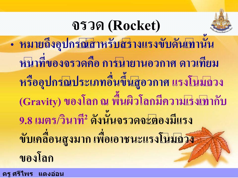 76 จรวด (Rocket) หมายถึงอุปกรณ์สำหรับสร้างแรงขับดันเท่านั้น หน้าที่ของจรวดคือ การนำยานอวกาศ ดาวเทียม หรืออุปกรณ์ประเภทอื่นขึ้นสู่อวกาศ แรงโน้มถ่วง (Gr