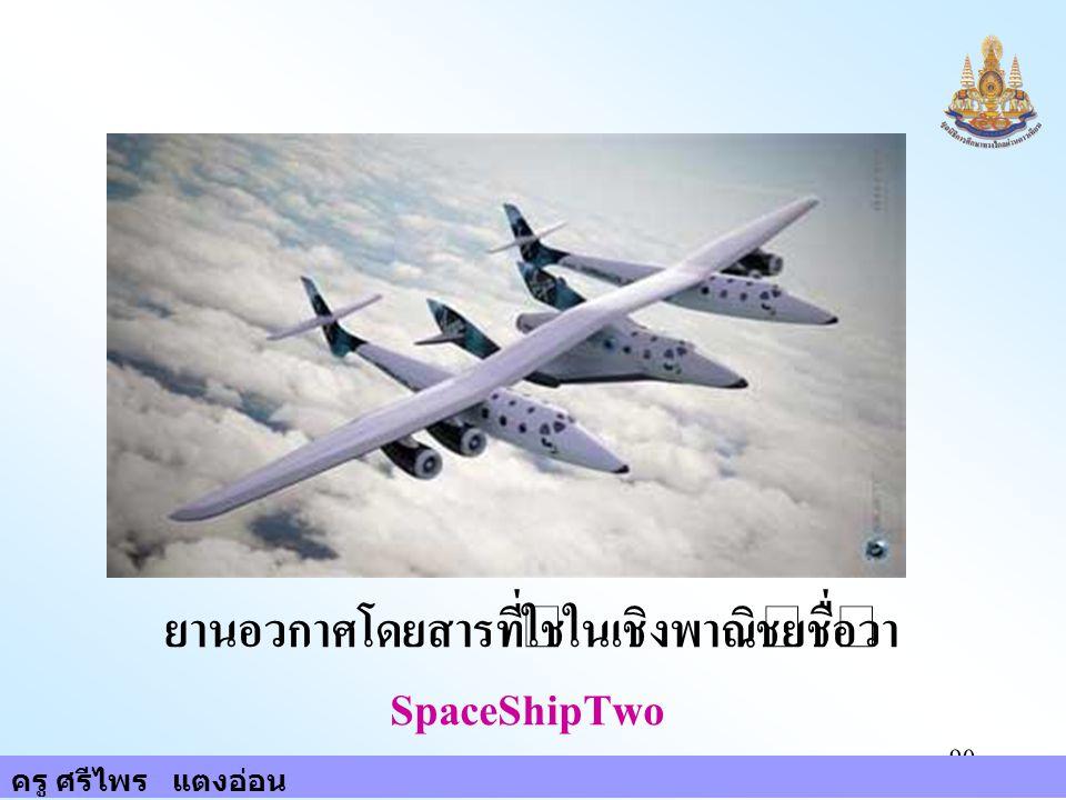 ครู ศรีไพร แตงอ่อน 90 ยานอวกาศโดยสารที่ใช้ในเชิงพาณิชย์ชื่อว่า SpaceShipTwo ครู ศรีไพร แตงอ่อน