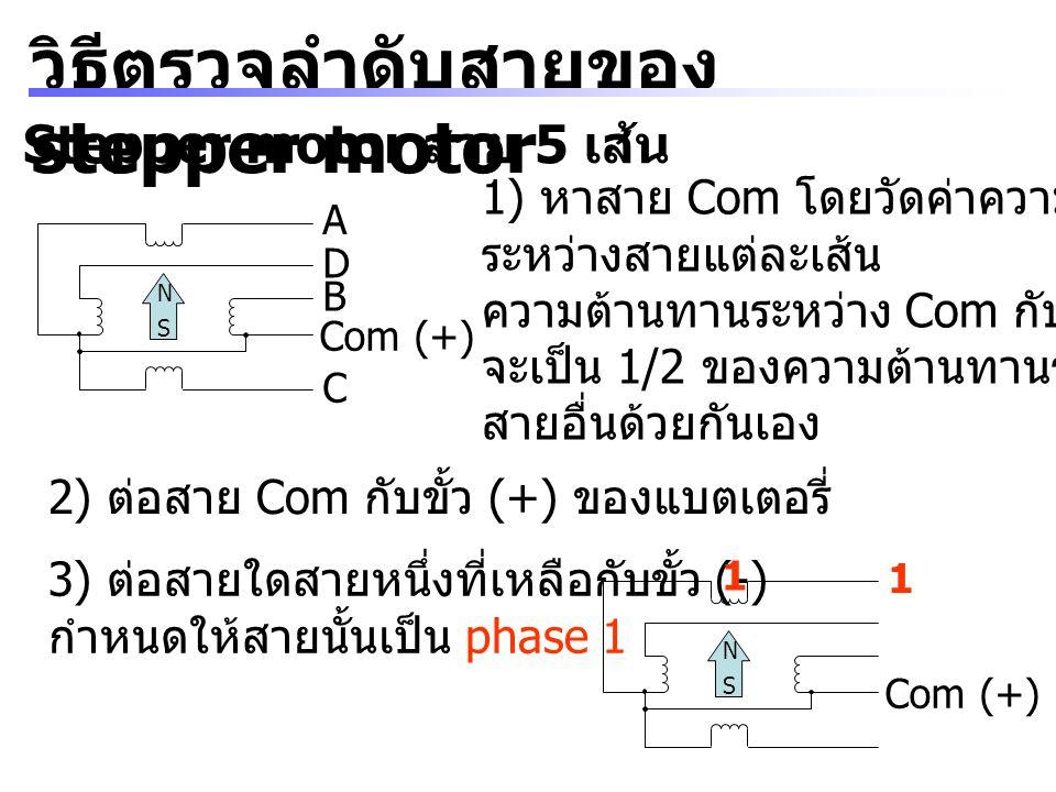 วิธีตรวจลำดับสายของ stepper motor Stepper motor สาย 5 เส้น A B D C Com (+) N S 1) หาสาย Com โดยวัดค่าความต้านทาน ระหว่างสายแต่ละเส้น ความต้านทานระหว่า
