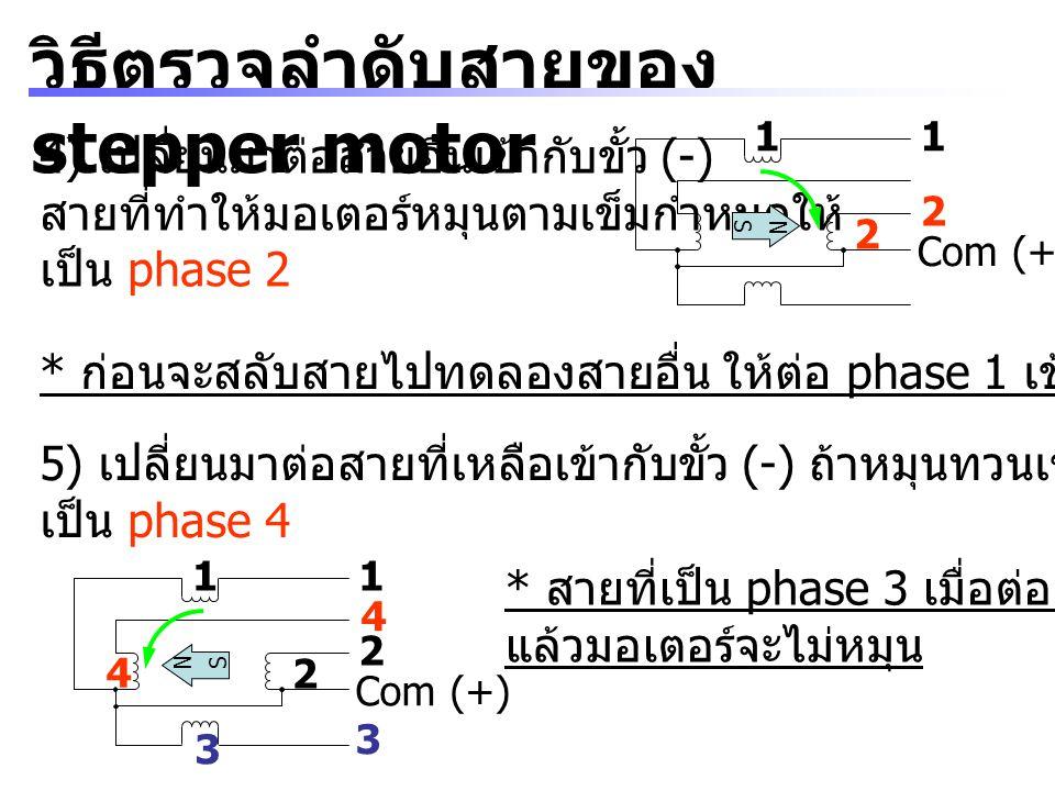 วิธีตรวจลำดับสายของ stepper motor 4) เปลี่ยนมาต่อสายอื่นเข้ากับขั้ว (-) สายที่ทำให้มอเตอร์หมุนตามเข็มกำหนดให้ เป็น phase 2 * ก่อนจะสลับสายไปทดลองสายอื