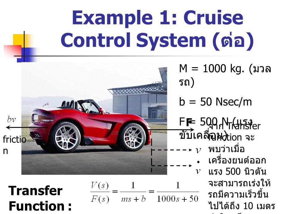 Example 1: Cruise Control System ( ต่อ ) M F frictio n M = 1000 kg. ( มวล รถ ) b = 50 Nsec/m F = 500 N ( แรง ขับเคลื่อน ) Transfer Function : จาก Tran