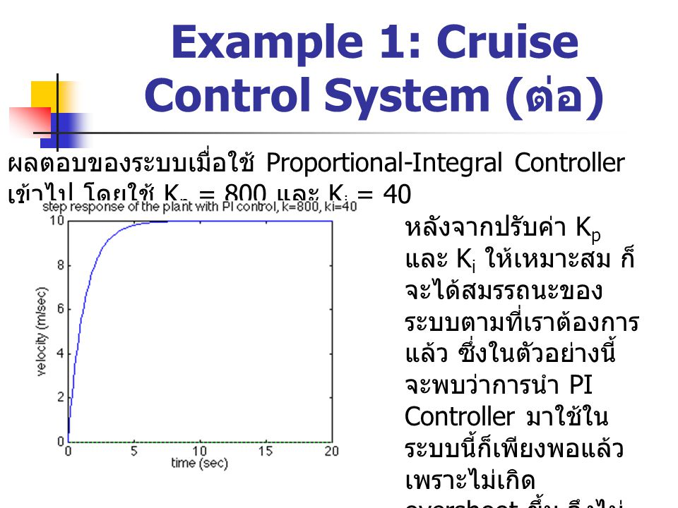 Example 1: Cruise Control System ( ต่อ ) ผลตอบของระบบเมื่อใช้ Proportional-Integral Controller เข้าไป โดยใช้ K p = 800 และ K i = 40 หลังจากปรับค่า K p