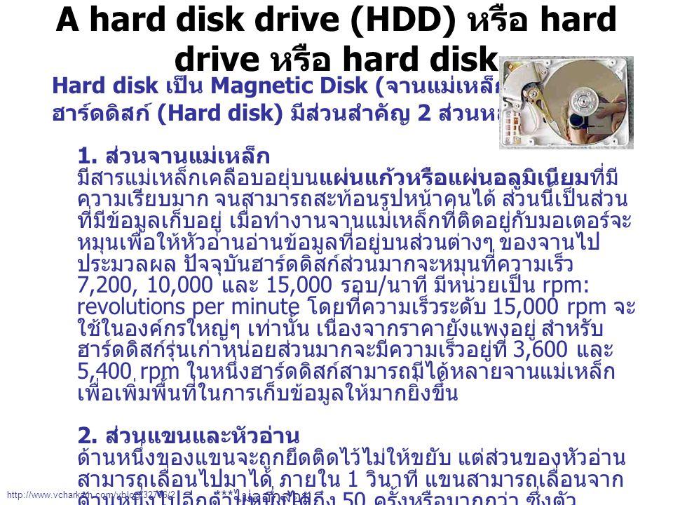 A hard disk drive (HDD) หรือ hard drive หรือ hard disk Hard disk เป็น Magnetic Disk ( จานแม่เหล็ก ) ชนิดหนึ่ง ฮาร์ดดิสก์ (Hard disk) มีส่วนสำคัญ 2 ส่วนหลัก ได้แก่ 1.