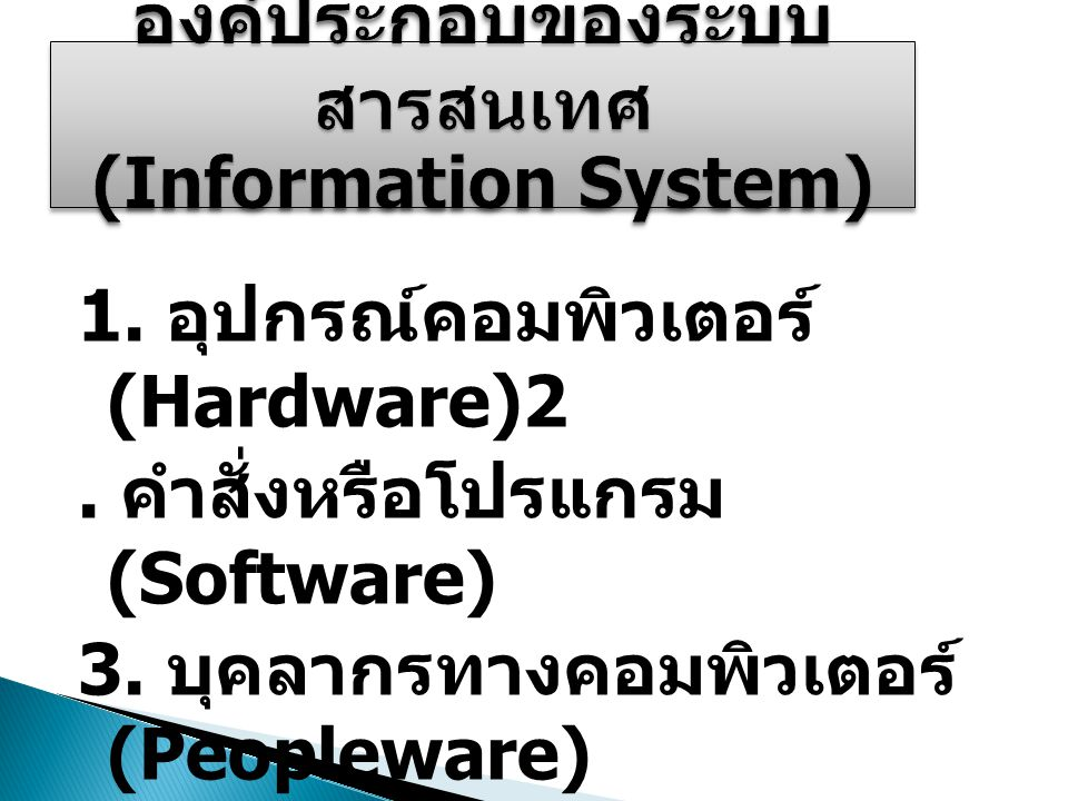 1. อุปกรณ์คอมพิวเตอร์ (Hardware)2. คำสั่งหรือโปรแกรม (Software) 3. บุคลากรทางคอมพิวเตอร์ (Peopleware) 4. ข้อมูล (Data) 5. กระบวนการทำงาน (Procedure)