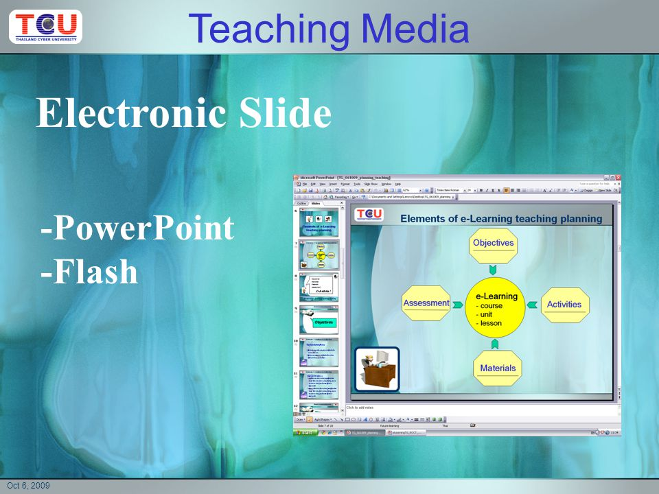 Oct 6, 2009 Document -sheet (word) -e-book -web page -PDF Teaching Media