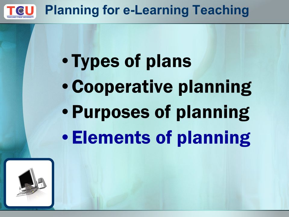 Oct 6, 2009 Activities Elements of e-Learning teaching planning Teacher activities Student activities