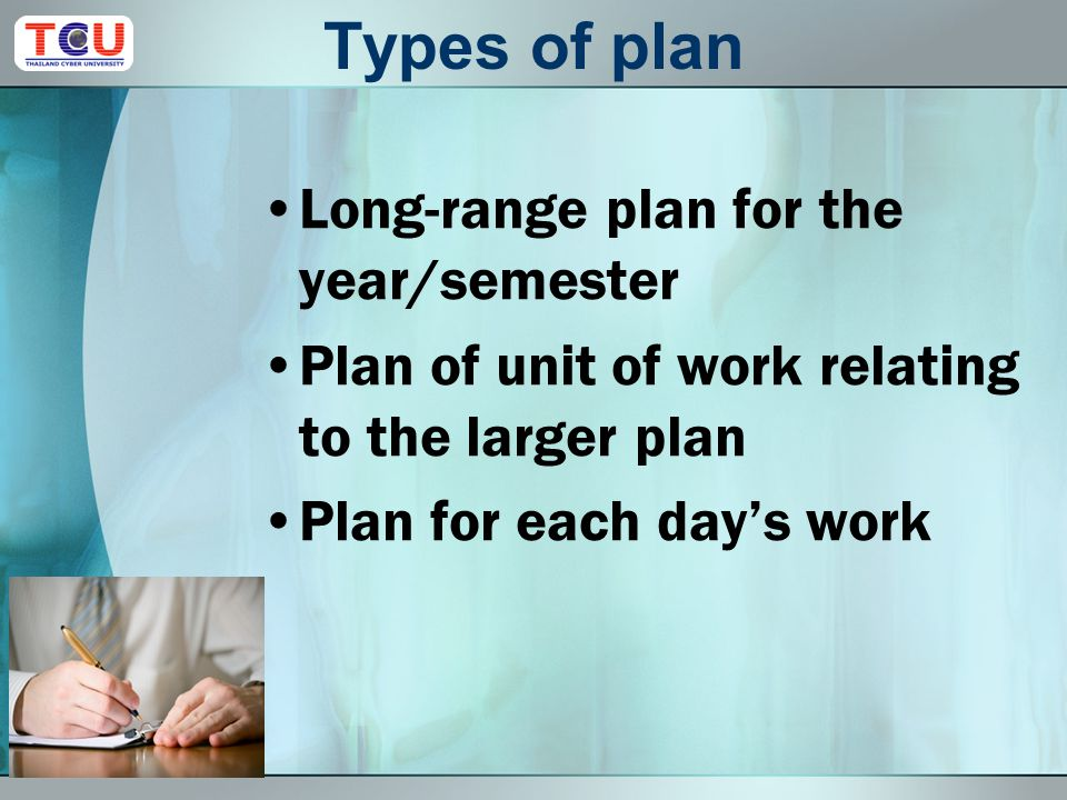 Planning for e-Learning Teaching Types of plans Cooperative planning Purposes of planning Elements of planning