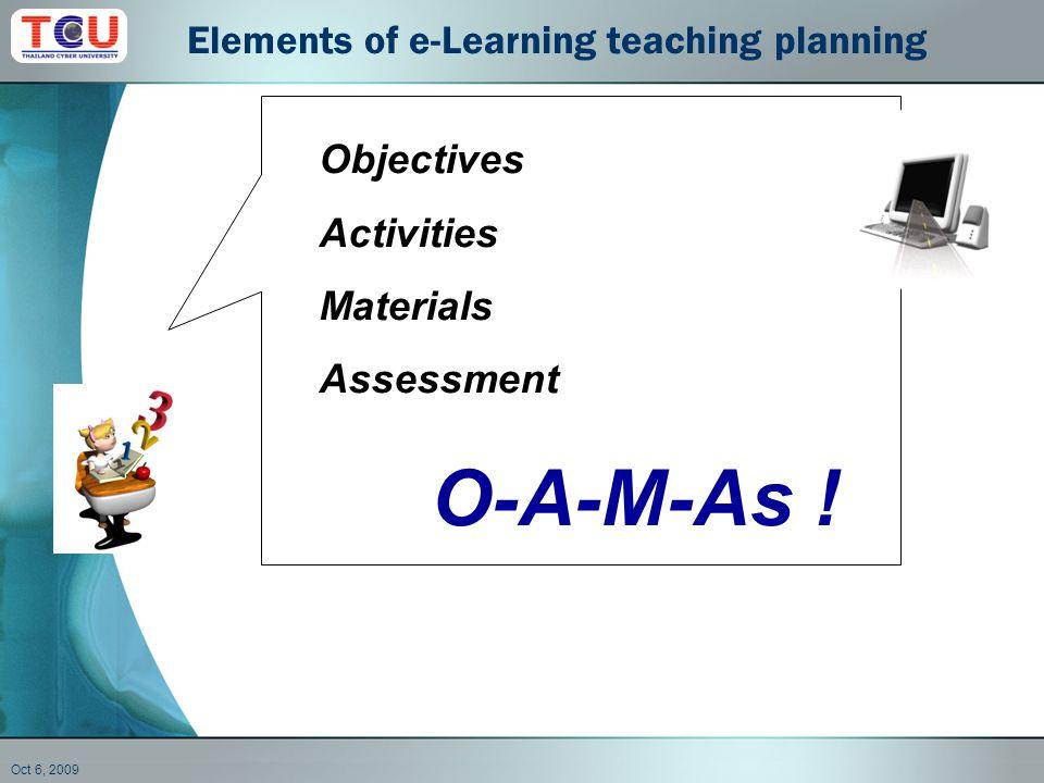 Oct 6, 2009 Objectives Activities Materials Assessment O-A-M-As .