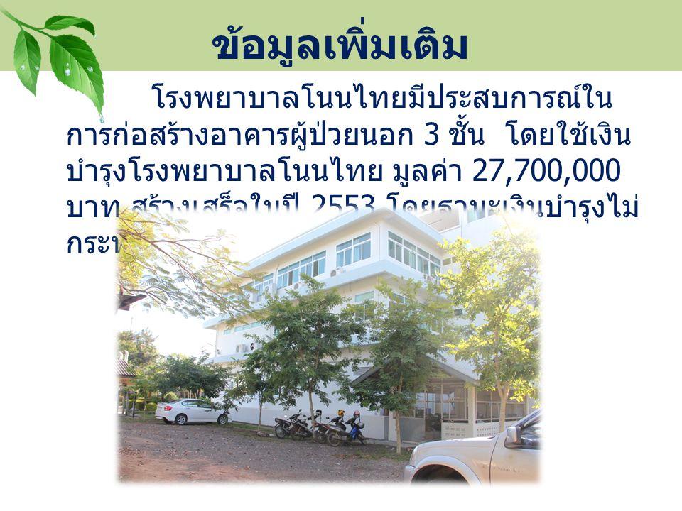 ข้อมูลเพิ่มเติม โรงพยาบาลโนนไทยมีประสบการณ์ใน การก่อสร้างอาคารผู้ป่วยนอก 3 ชั้น โดยใช้เงิน บำรุงโรงพยาบาลโนนไทย มูลค่า 27,700,000 บาท สร้างเสร็จในปี 2