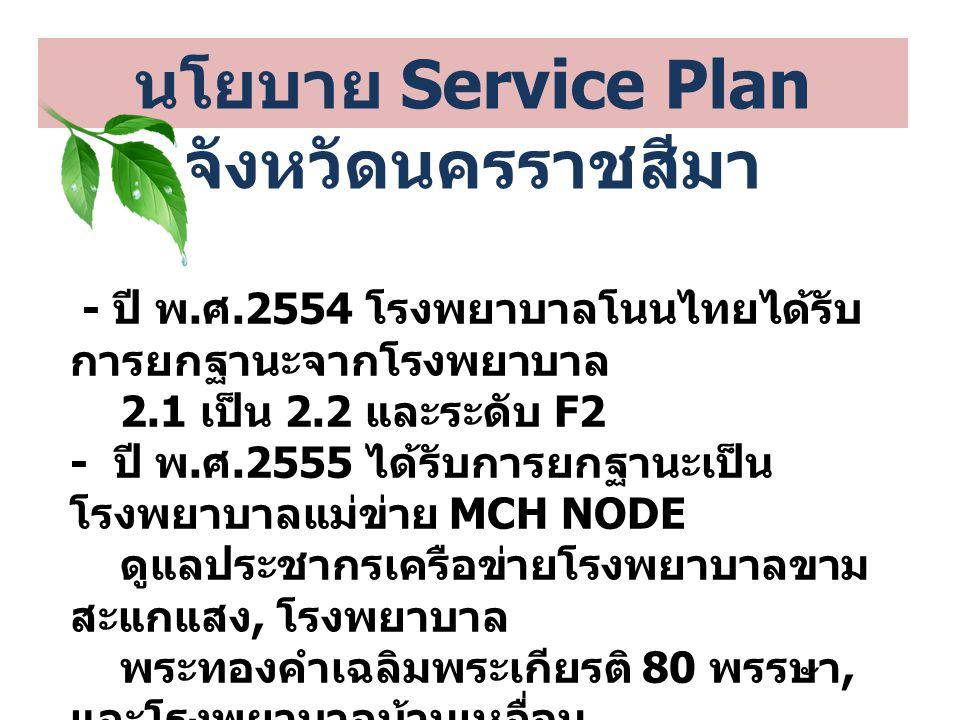 นโยบาย Service Plan จังหวัดนครราชสีมา - ปี พ. ศ.2554 โรงพยาบาลโนนไทยได้รับ การยกฐานะจากโรงพยาบาล 2.1 เป็น 2.2 และระดับ F2 - ปี พ. ศ.2555 ได้รับการยกฐา