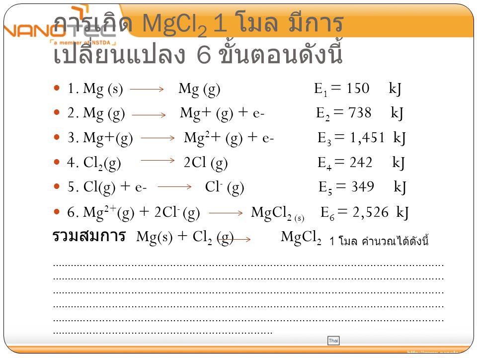 การเกิด MgCl 2 1 โมล มีการ เปลี่ยนแปลง 6 ขั้นตอนดังนี้ 1. Mg (s) Mg (g) E 1 = 150 kJ 2. Mg (g) Mg+ (g) + e- E 2 = 738 kJ 3. Mg+(g) Mg 2 + (g) + e- E 3
