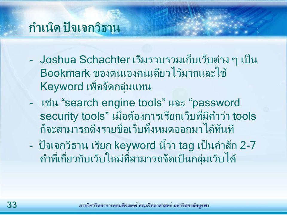 33 กำเนิด ปัจเจกวิธาน -Joshua Schachter เริ่มรวบรวมเก็บเว็บต่าง ๆ เป็น Bookmark ของตนเองคนเดียวไว้มากและใช้ Keyword เพื่อจัดกลุ่มแทน - เช่น search engine tools และ password security tools เมื่อต้องการเรียกเว็บที่มีคำว่า tools ก็จะสามารถดึงรายชื่อเว็บทั้งหมดออกมาได้ทันที - ปัจเจกวิธาน เรียก keyword นี้ว่า tag เป็นคำสัก 2-7 คำที่เกี่ยวกับเว็บใหม่ที่สามารถจัดเป็นกลุ่มเว็บได้