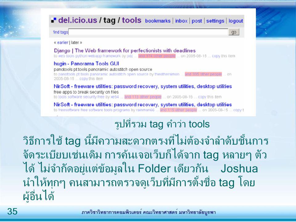 35 วิธีการใช้ tag นี้มีความสะดวกตรงที่ไม่ต้องจำลำดับชั้นการ จัดระเบียบเช่นเดิม การค้นเจอเว็บก็ได้จาก tag หลายๆ ตัว ได้ ไม่จำกัดอยู่แต่ข้อมูลใน Folder เดียวกัน Joshua นำให้ทุกๆ คนสามารถตรวจดูเว็บที่มีการตั้งชื่อ tag โดย ผู้อื่นได้ รูปที่รวม tag คำว่า tools