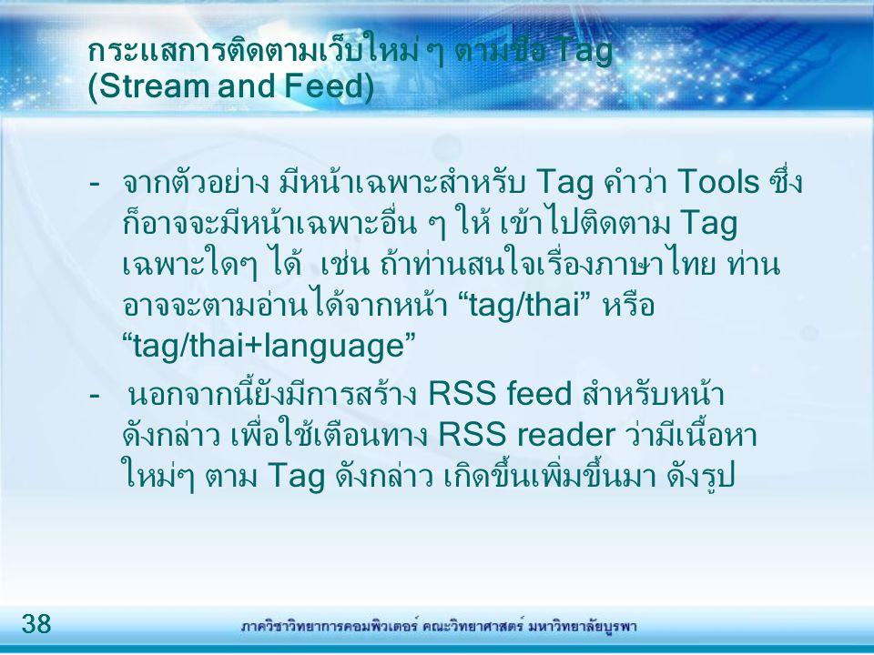 38 กระแสการติดตามเว็บใหม่ ๆ ตามชื่อ Tag (Stream and Feed) -จากตัวอย่าง มีหน้าเฉพาะสำหรับ Tag คำว่า Tools ซึ่ง ก็อาจจะมีหน้าเฉพาะอื่น ๆ ให้ เข้าไปติดตาม Tag เฉพาะใดๆ ได้ เช่น ถ้าท่านสนใจเรื่องภาษาไทย ท่าน อาจจะตามอ่านได้จากหน้า tag/thai หรือ tag/thai+language - นอกจากนี้ยังมีการสร้าง RSS feed สำหรับหน้า ดังกล่าว เพื่อใช้เตือนทาง RSS reader ว่ามีเนื้อหา ใหม่ๆ ตาม Tag ดังกล่าว เกิดขึ้นเพิ่มขึ้นมา ดังรูป