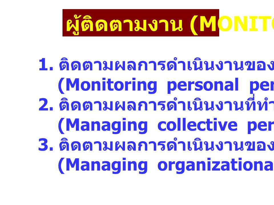 ผู้ติดตามงาน (MONITOR) 1. ติดตามผลการดำเนินงานของปัจเจกบุคคล (Monitoring personal performance) 2. ติดตามผลการดำเนินงานที่ทำร่วมกัน (Managing collectiv