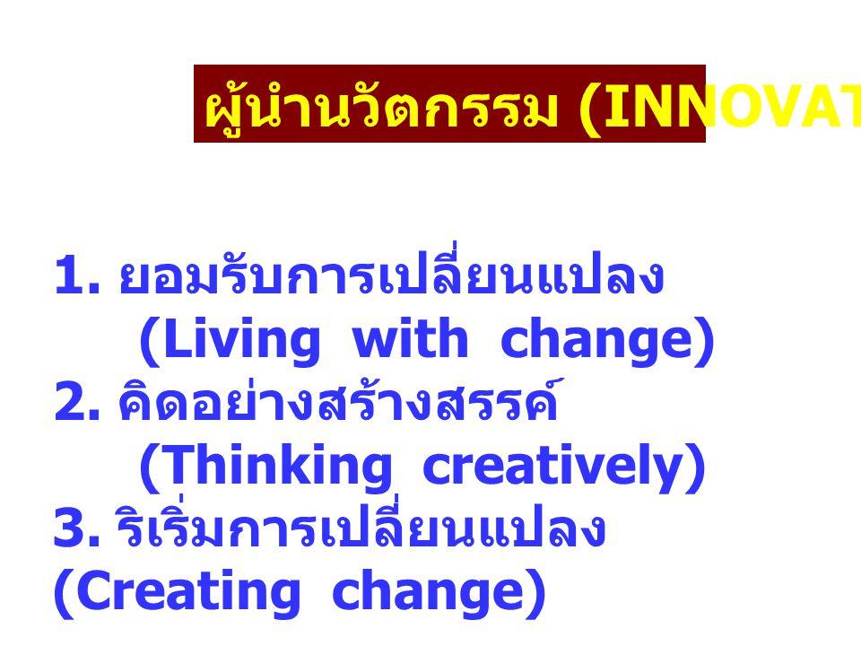 ผู้นำนวัตกรรม (INNOVATOR) 1. ยอมรับการเปลี่ยนแปลง (Living with change) 2. คิดอย่างสร้างสรรค์ (Thinking creatively) 3. ริเริ่มการเปลี่ยนแปลง (Creating