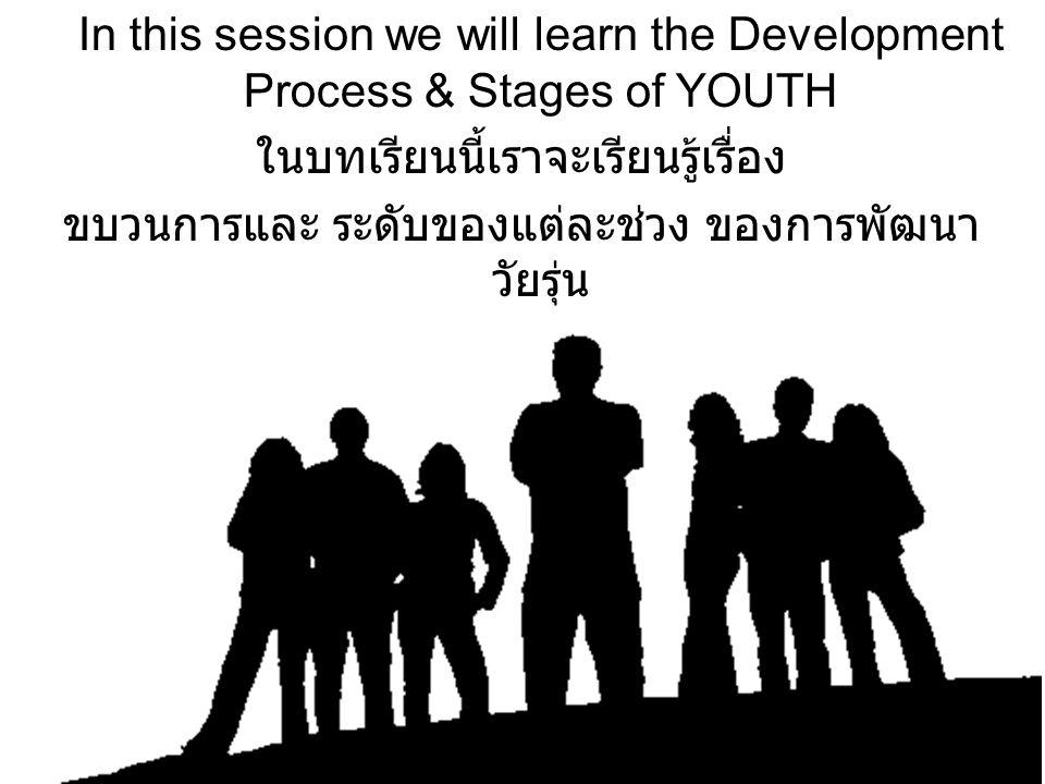 In this session we will learn the Development Process & Stages of YOUTH ในบทเรียนนี้เราจะเรียนรู้เรื่อง ขบวนการและ ระดับของแต่ละช่วง ของการพัฒนา วัยรุ