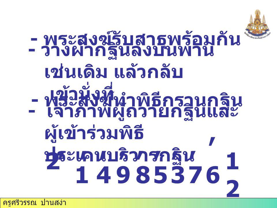 ครูศรีวรรณ ปานสง่า 2,1,1,4,4,9,9,8,8,5,5,3,3 - พระสงฆ์รับสาธุพร้อมกัน,7,7 - วางผ้ากฐินลงบนพาน เช่นเดิม แล้วกลับ เข้านั่งที่,6,6 - พระสงฆ์ทำพิธีกรานกฐิ