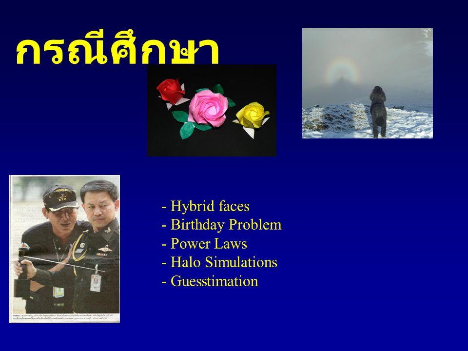 กรณีศึกษา - Hybrid faces - Birthday Problem - Power Laws - Halo Simulations - Guesstimation