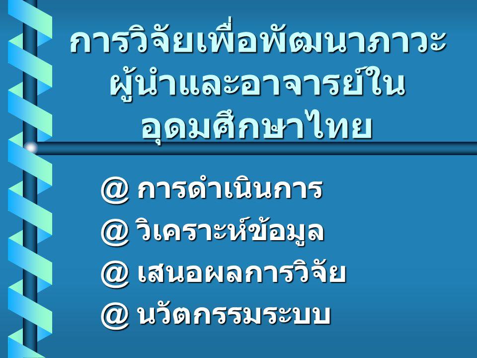 เสนอผลการวิจัย b ผลการวิจัยจะ บอกถึงทักษะภาวะ ผู้นำที่ต้องการ ของ ผู้ใต้บังคับบัญชา ในอุดมศึกษาไทย
