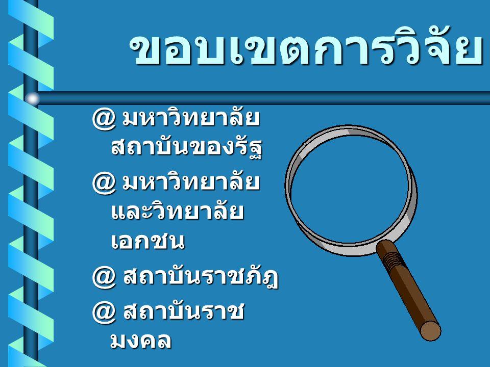 ประวัติการพัฒนา @ 2530 เริ่มจัด การศึกษาการ บริหารการศึกษา และการอุดมศึกษา ระดับปริญญาเอก ในประเทศไทย