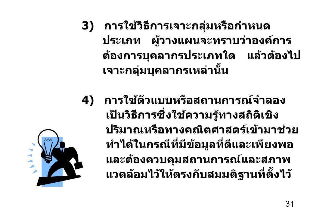31 3) การใช้วิธีการเจาะกลุ่มหรือกำหนด ประเภท ผู้วางแผนจะทราบว่าองค์การ ต้องการบุคลากรประเภทใด แล้วต้องไป เจาะกลุ่มบุคลากรเหล่านั้น 4) การใช้ตัวแบบหรือสถานการณ์จำลอง เป็นวิธีการซึ่งใช้ความรู้ทางสถิติเชิง ปริมาณหรือทางคณิตศาสตร์เข้ามาช่วย ทำได้ในกรณีที่มีข้อมูลที่ดีและเพียงพอ และต้องควบคุมสถานการณ์และสภาพ แวดล้อมไว้ให้ตรงกับสมมติฐานที่ตั้งไว้