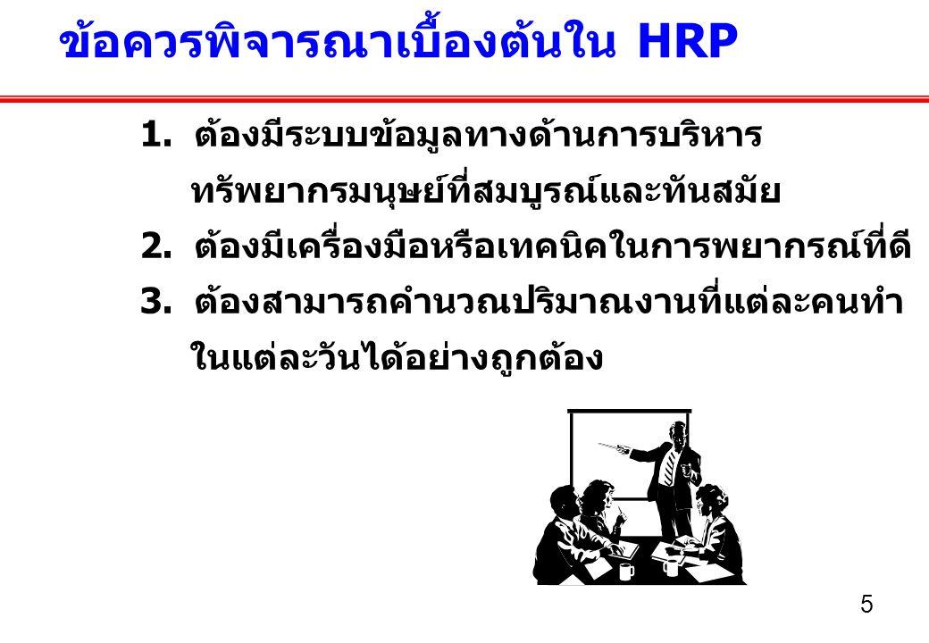 6 วัตถุประสงค์ของ HRP...โดยทั่วไปมีการกำหนดวัตถุประสงค์ไว้ดังนี้ 1.