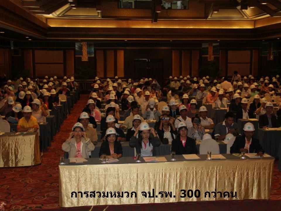 การสวมหมวก จป. รพ. 300 กว่าคน