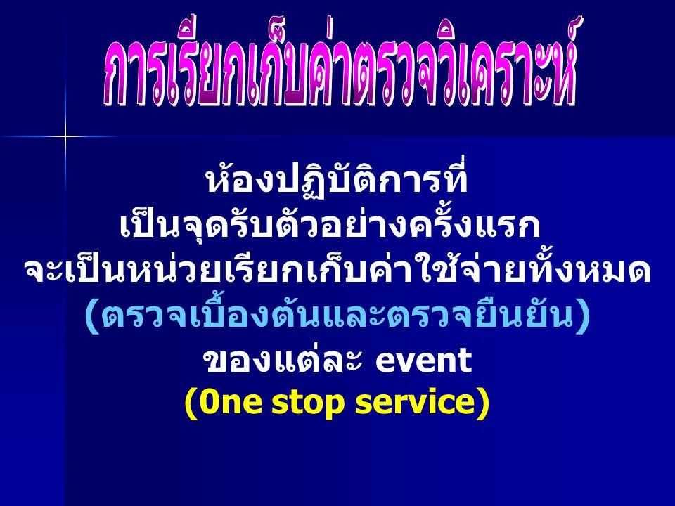 ห้องปฏิบัติการที่ เป็นจุดรับตัวอย่างครั้งแรก จะเป็นหน่วยเรียกเก็บค่าใช้จ่ายทั้งหมด (ตรวจเบื้องต้นและตรวจยืนยัน) ของแต่ละ event (0ne stop service)