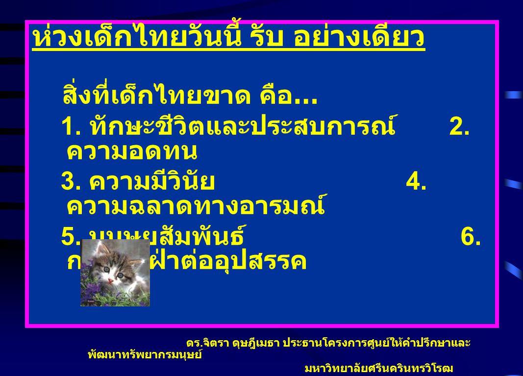 ห่วงเด็กไทยวันนี้ รับ อย่างเดียว สิ่งที่เด็กไทยขาด คือ … 1. ทักษะชีวิตและประสบการณ์ 2. ความอดทน 3. ความมีวินัย 4. ความฉลาดทางอารมณ์ 5. มนุษยสัมพันธ์ 6