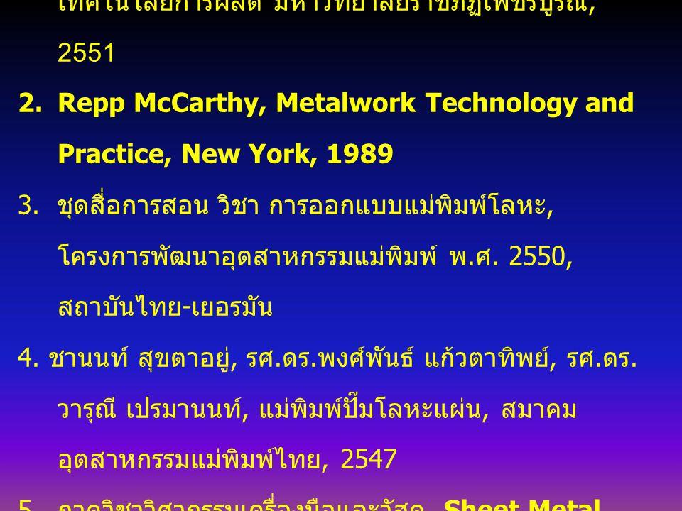 หนังสือประกอบการเรียน 1. ธรรม์ณชาติ วันแต่ง, เทคโนโลยีงานโลหะแผ่น, สาขา เทคโนโลยีการผลิต มหาวิทยาลัยราชภัฏเพชรบูรณ์, 2551 2.Repp McCarthy, Metalwork T